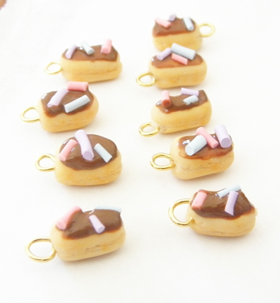 Polymer Clay Eclair Charms by Pinkanea
