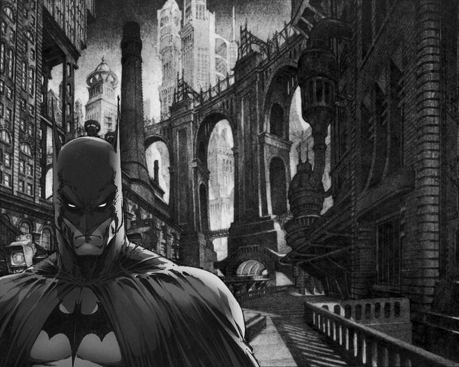 Batman black and white gothic by ink2paper916