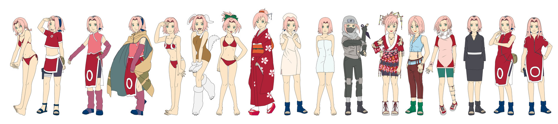 Sakura Haruno Outfit Color NARUTO by SunakiSabakuno on ...