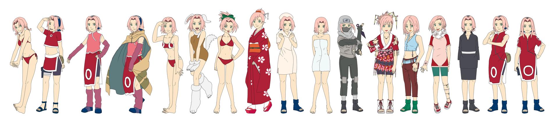 Sakura Haruno Outfit Color NARUTO by SunakiSabakuno