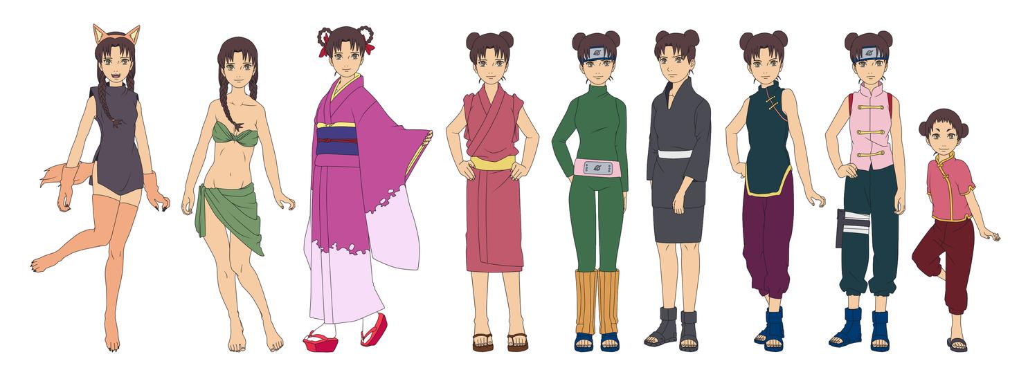 Tenten Outfit Color NARUTO by SunakiSabakuno