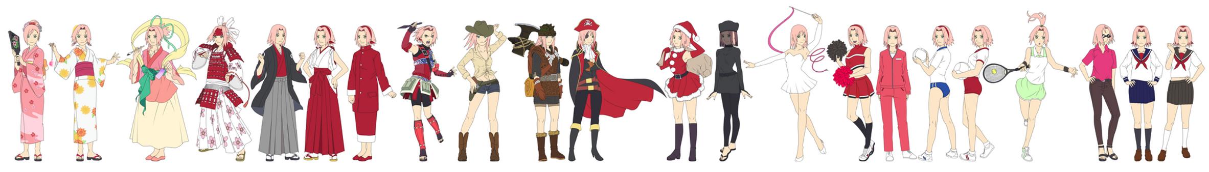 Sakura Haruno Outfit Color NARUTO SHIPPUUDEN 02 by SunakiSabakuno