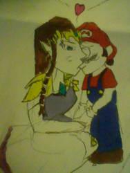 Request: Mario and Zelda kiss