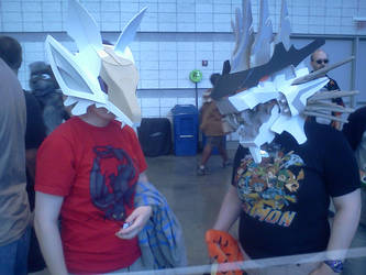 Anthrocon 2014: White Shadow Fox and Mugen Liger by murkrowzy