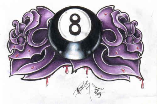 Eightball and roses by BettieBoner