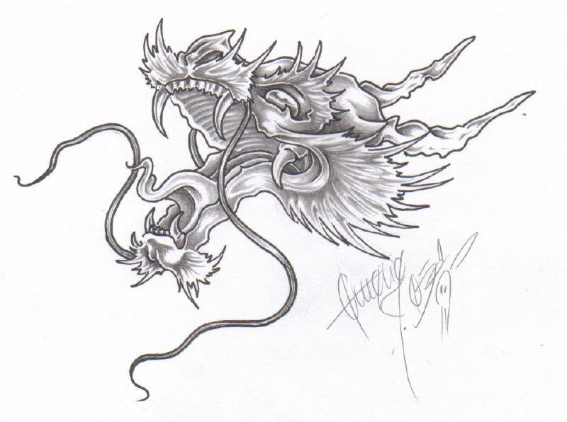 Dragon Head - sleeve tattoo
