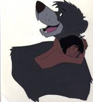 Baloo and Mowgli by Ookamiotokoo