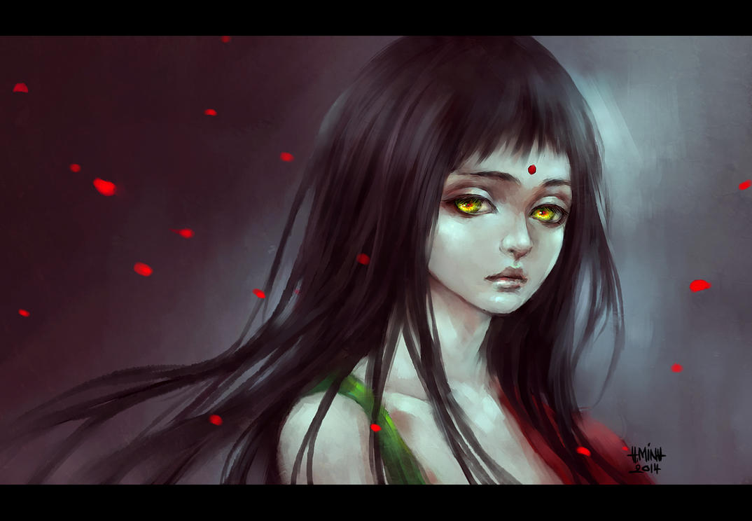 girl with golden eyes by NanFe