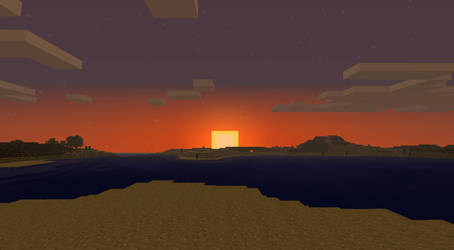 Sunset in Minecraft by MJMorgan