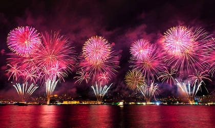 Firework at Bosphorus of Istanbul - Turkey