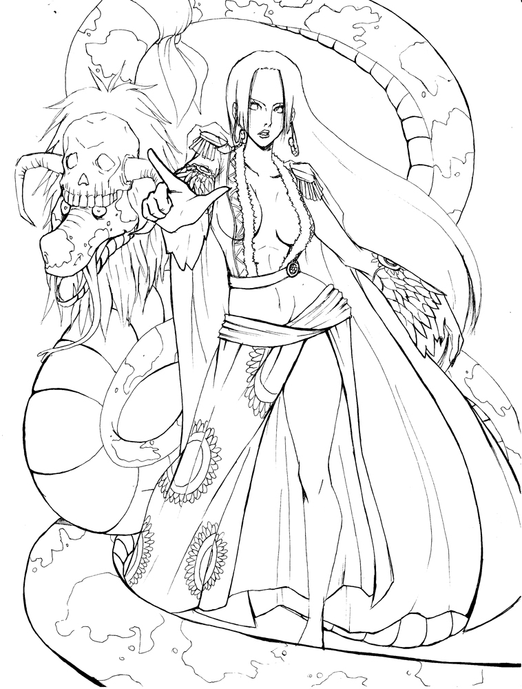 One piece boa hancock lineart by kyoffie12 on deviantart for One piece dibujos