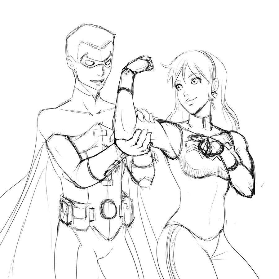 Line Drawing Robin : Sketchline robin and wonder girl by kyoffie on deviantart