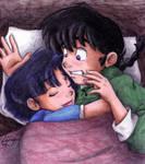 Ranma and Akane... snuggling? by irishgirl982