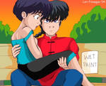 Ranma and  Akane - Wet Paint