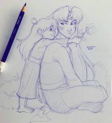 Rin and Sesshoumaru by irishgirl982