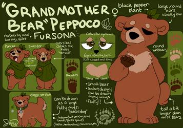 Grandmother Bear Fursona - Peppoco 2019 Reference by Peppoco
