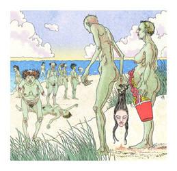 zombie nude beach by Robertwarrenharrison