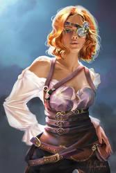Steampunk adventurer by Pterona