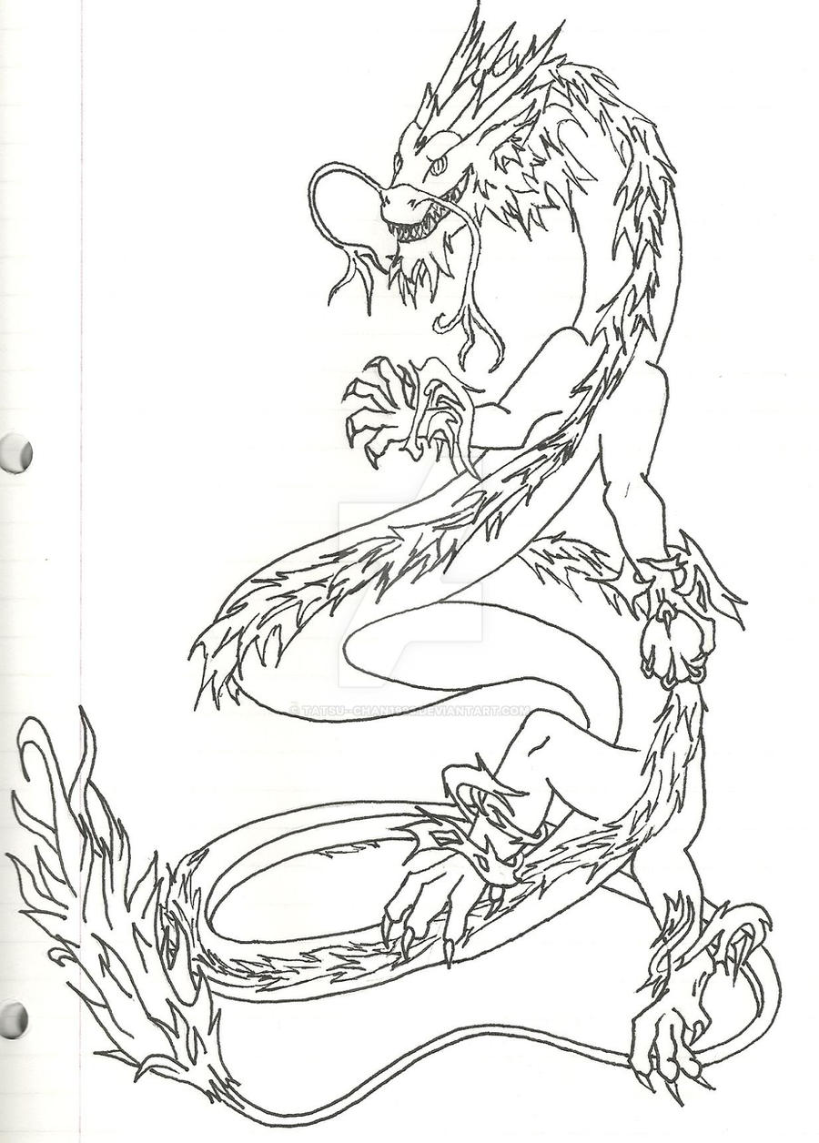 Line Drawing Dragon Tattoo : Chinese dragon tattoo lineart by tatsu chan on deviantart