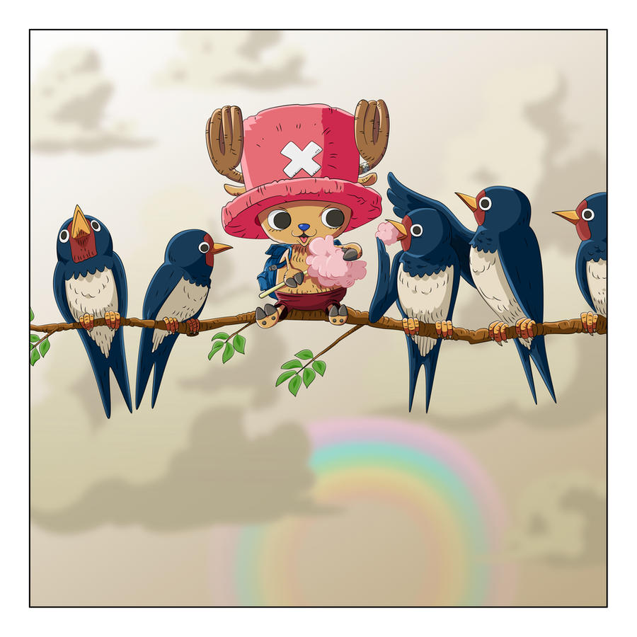 Chopper and a flock of birds