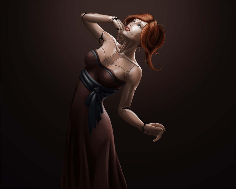 cyborg in brown dress by jr248