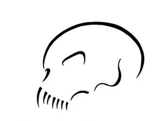 MF - Skull - line art with teeth - side
