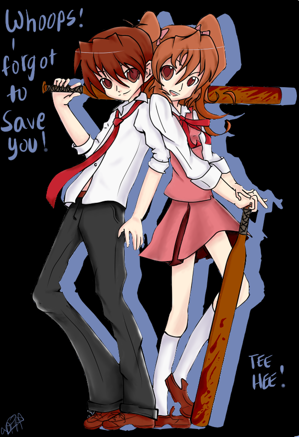 Misao: Aki and Akito (with background) by BlackReaperNight