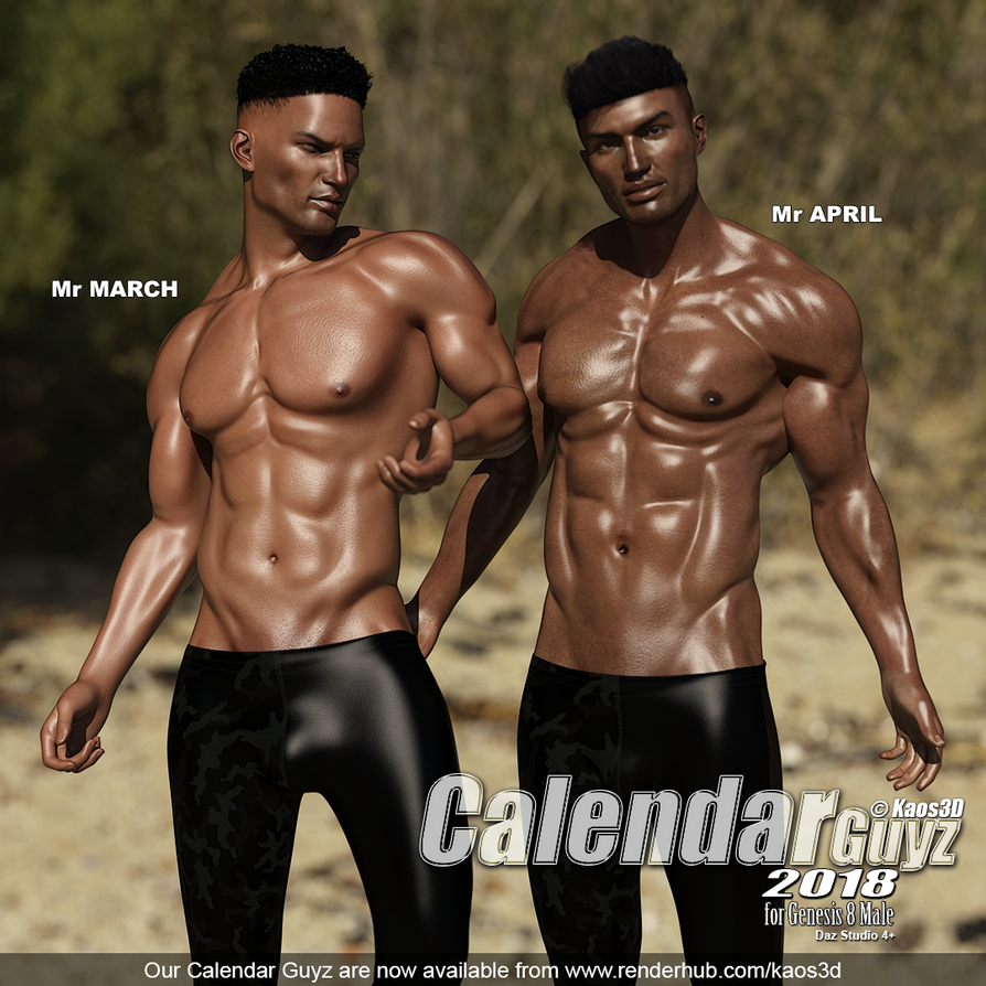 Our Calendar Guyz are now on RenderHub by Kaos3d