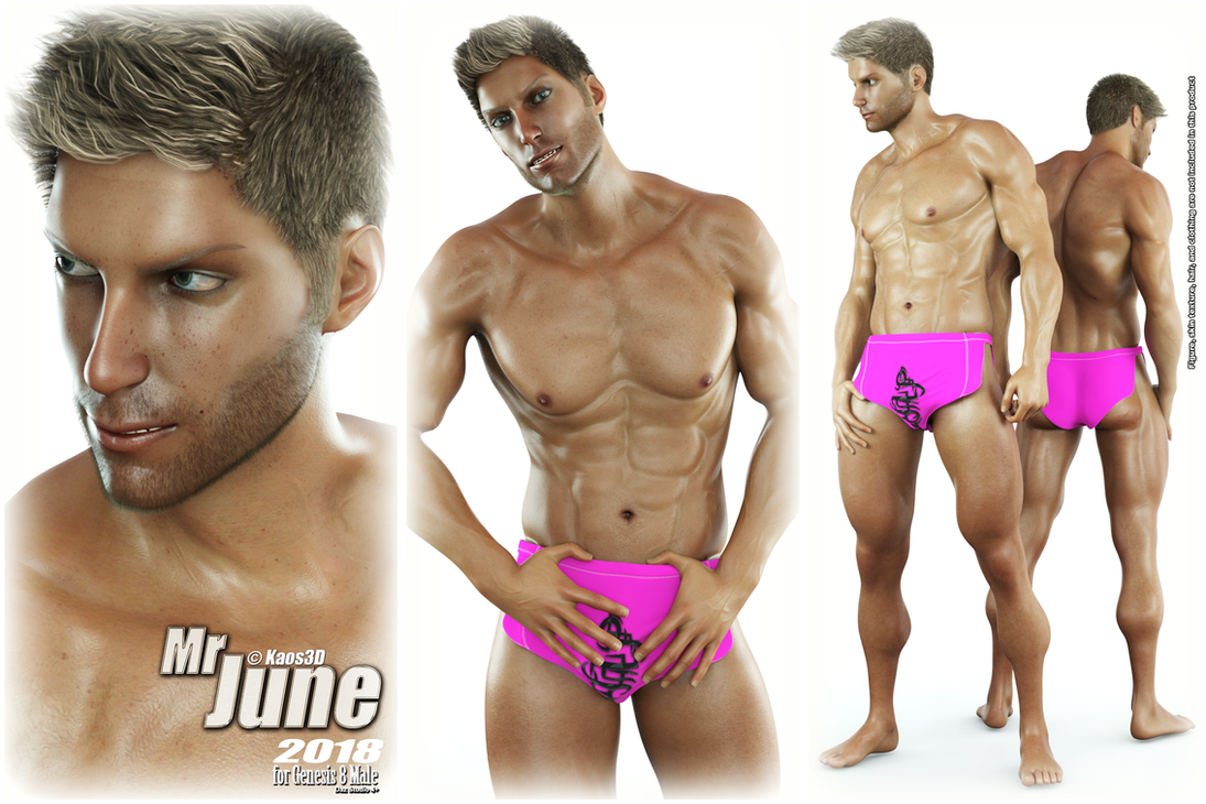 Calendar Guyz - Mr June 2018 for Genesis 8 Male by Kaos3d