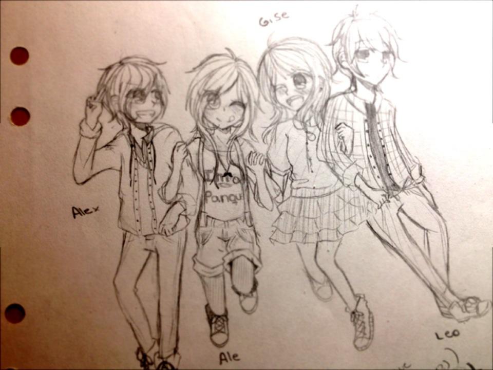 Alex,Me,Gise and Leo~ by LeMostachouAle