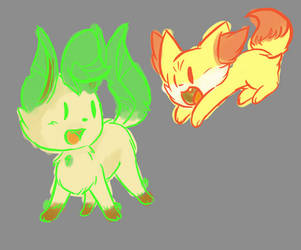 leafeon and Fennekin~!! by DarkBloodyRose1000