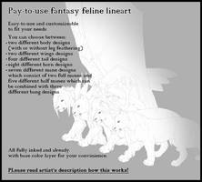 Pay-to-use/dA Point Fantasy feline lineart by T0xicEye