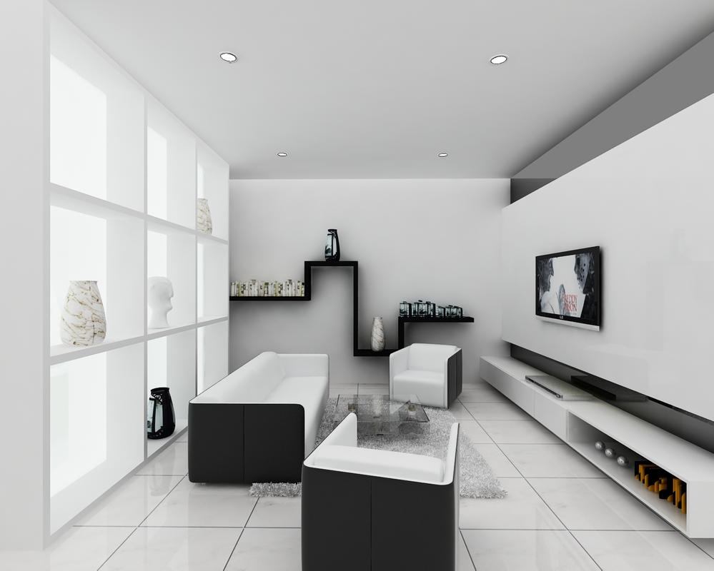 Bw minimalist small living room by forevalonejackk on for Small room minimalist