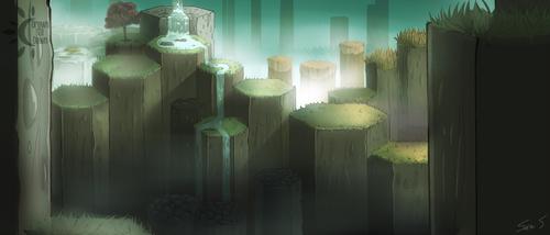 Green Causeway Ver. 2 (Fog) by DrawnTilDawn