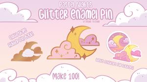 Pastel Nights: Glitter Enamel Pin Kickstarter!