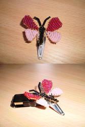 Beadwork: pink butterfly
