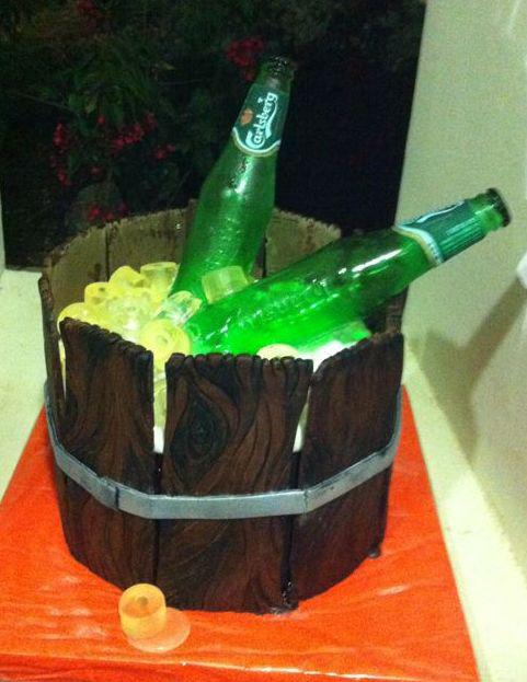 Wooden Ice Bucket and Beer Bottle Cake by mysweetstop