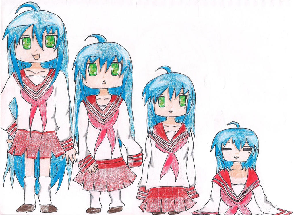 Art Request: Konata Izumi's 4 Stage Age Regression by MagicalMadoka