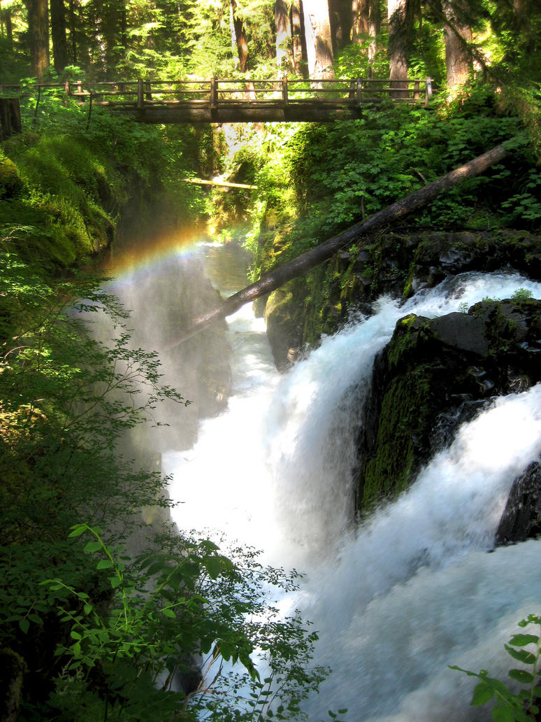 Sol Duc Falls with Bridge by Cynnalia-Stock