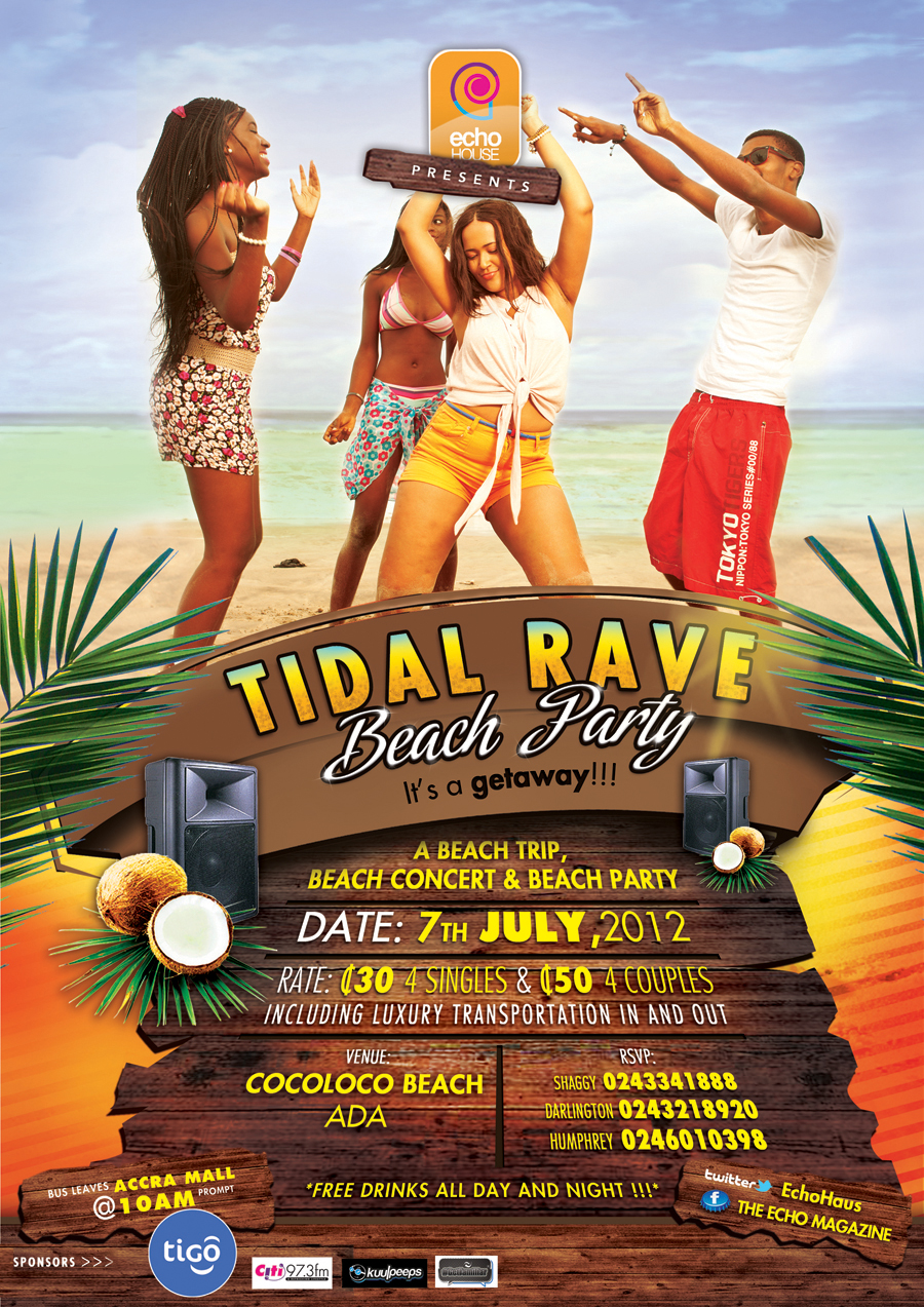 Tidal Rave Beach Party Flyer And Poster By Dontheo2