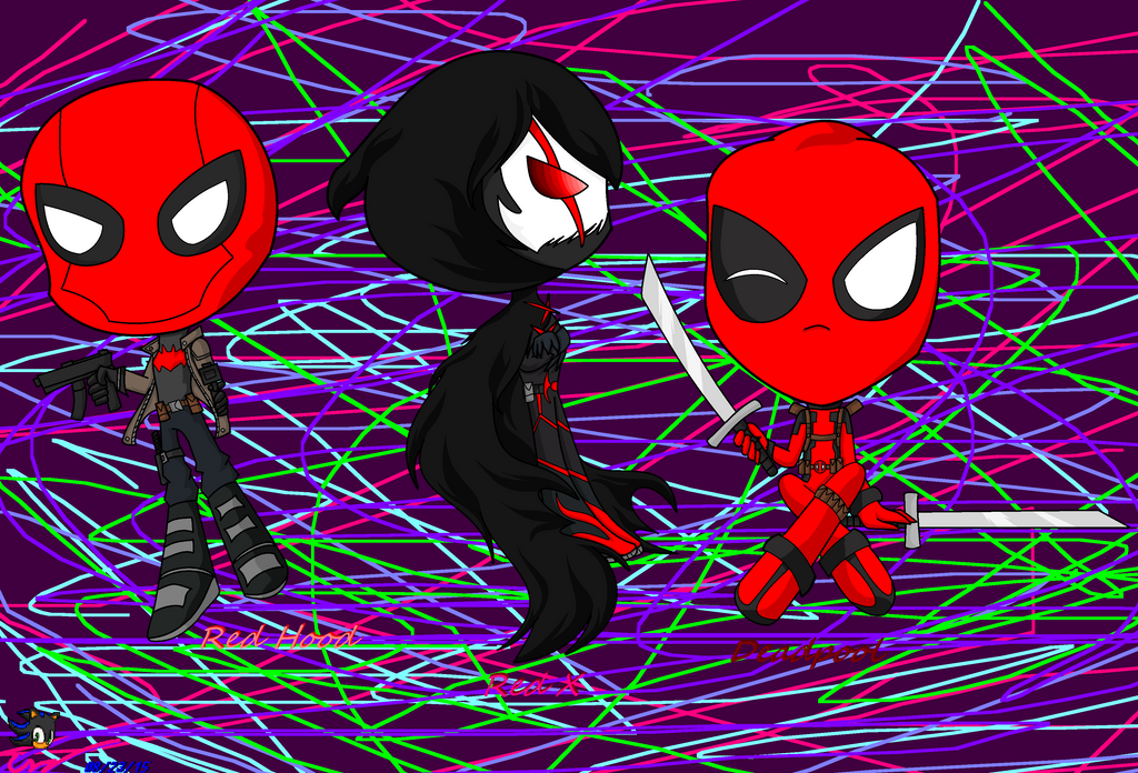 .:Chibi Red Hood, Red X and Deadpool:. by Shadethebathog