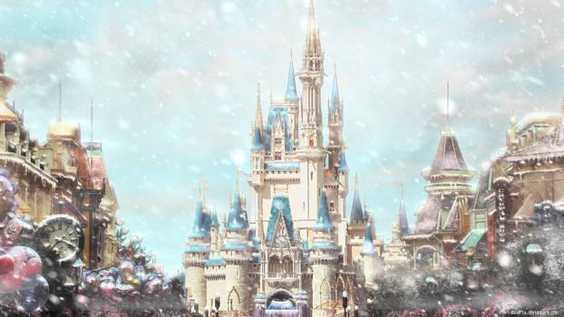 Disney castle in Winter - Wallpaper