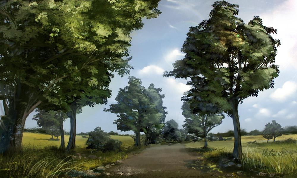 Landscape speedpaint tutorial by AppleSin