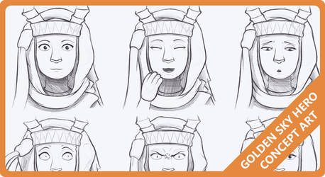 Golden Sky Hero - Expression Sheets by The-Quill-Warrior