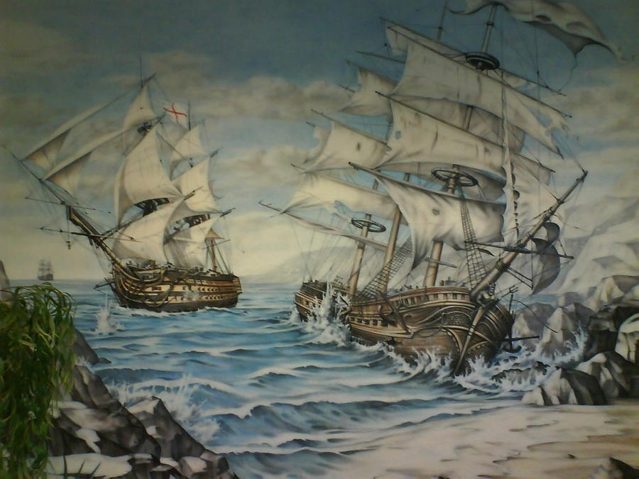 The naval battle mural by linkerart on deviantart for Siege mural rabattable