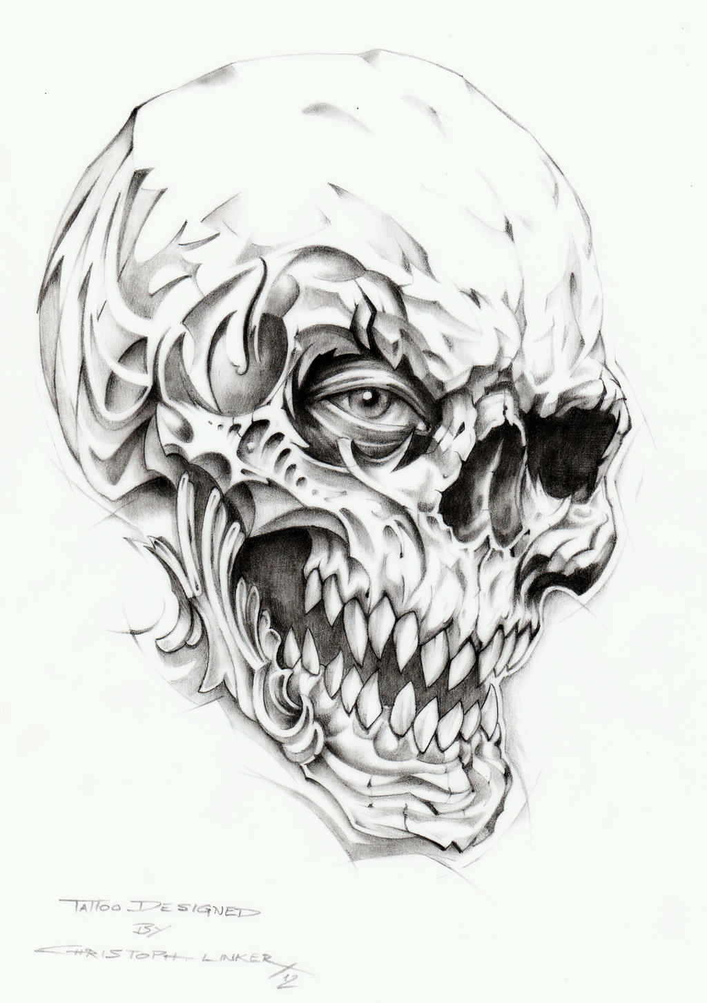 Skull Line Drawing Tattoo : Skull tattoo drawing by linkerart on deviantart