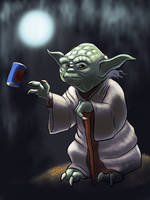 Master Yoda Grabbing a Cold One  by DevinQuigleyArt