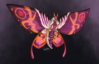 Kaijune 2018 Day 15, Mothra by DevinQuigleyArt