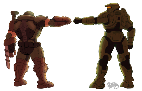 CO, Sir-Raptor, DoomGuy And Master Chief Bro Fist