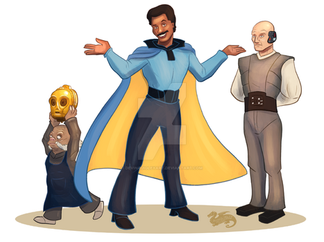 Star Wars April, Lando, Lobot, And Ughnaught